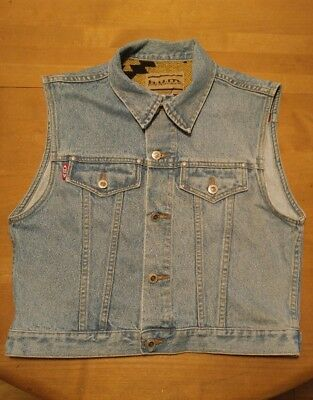 Vintage Western Vest Women Large 90's Denim Jean Wild West Chief Wool Trim