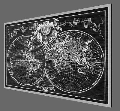 "Antique World Map - 1742 - Metal Print on Brushed Aluminum - 40"" x 27"""