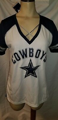 NFL Dallas Cowboys Sparkle Bling Rhinestones Fitted Jersey Shirt Women s  Large e6dbdf0ee