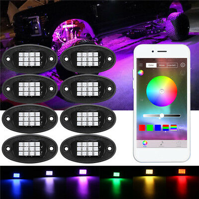 8x RGB LED Unterboden Beleuchtung Rock Licht Atmosphäre Offroad bluetooth