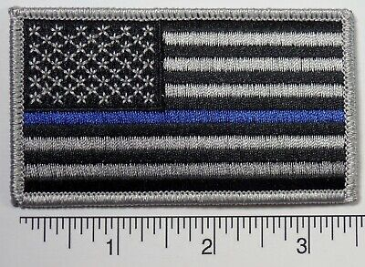 """American Flag BLUE LIVES MATTER POLICE Embroidered Patch 3.5x2"""" - Thin Blue Line"""