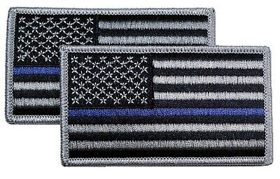 """THIN BLUE LINE POLICE BLUE LIVES MATTER EMBROIDERED PATCH 3X2/"""" P115"""
