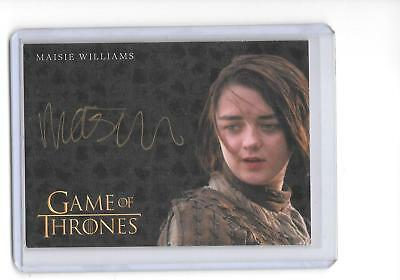 Game of Thrones Valyrian Steel Maisie Williams as Arya Stark Gold Auto Autograph