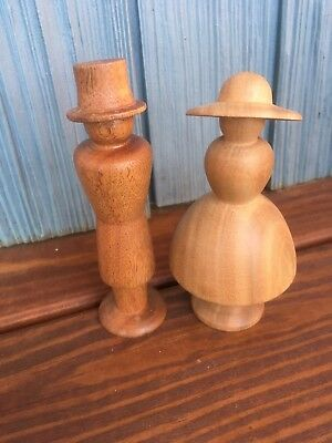 Hand Turned Cherry Wood Man & Woman Pair - Cake Topper Shelf Decor