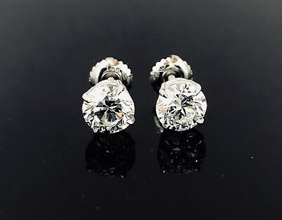 Round Created Diamond Claw Screw Back Stud Earrings 2.25ct 14K Solid White Gold
