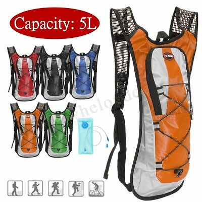 5L Backpack Outdoor Hiking Cycling Hydration Rucksack + 2L Water Bladder Bag !