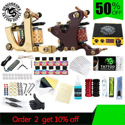 Professional Complete Tattoo Kit Set Tattoo Machine Power Supply 2 guns Inks