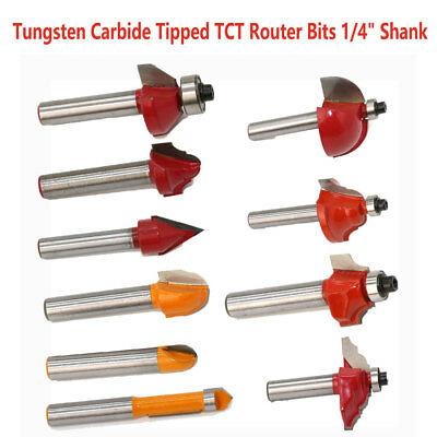 "TUNGSTEN CARBIDE ROUTER BITS 1/4"" Shank TCT Wood Joining Cutter Shaping"