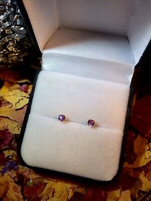 Sparkling genuine natural Purple Sapphire 3mm 14K yellow gold stud earrings 🔮