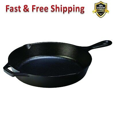 Cast Iron Skillet 10.25 Black Pre Seasoned Ready for Stove Top Oven Use Durable