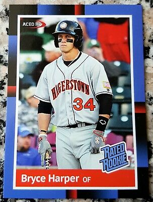 BRYCE HARPER 2011 #1 Draft Pick RATED Rookie Card RC 1988 Donruss Style Phillies