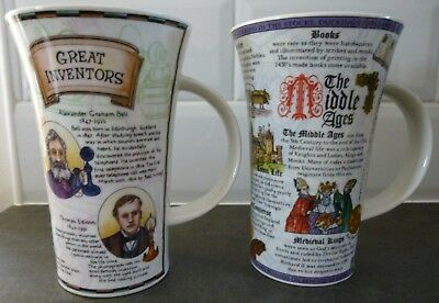 2 Dunoon Stoneware Mugs - Great Inventors & The Middle Ages