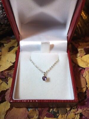 Charming genuine natural Purple Sapphire 3.3mm round sterling silver pendant 🔮