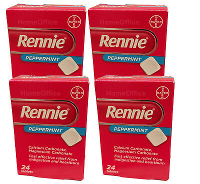 Rennie Peppermint 96 Tablets - 4 Packs Fast Indigestion & Heartburn Relief