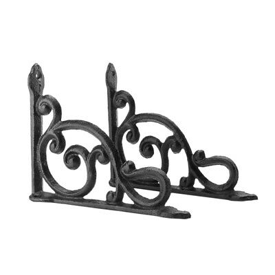 A Pair Antique Style Cast Iron Brackets Garden Braces Rustic Shelf Bracket E6W9