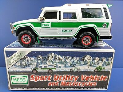 2004 Hess truck Sports Utility Vehicle and motorcycles new in box