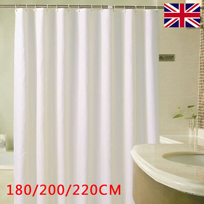 Waterproof Fabric White Bathroom Shower Curtain Plain With Hooks Extra Ring Long