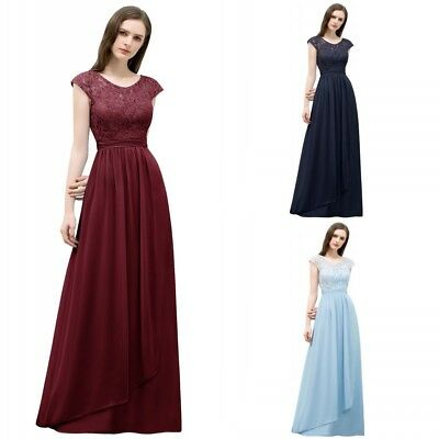 Long Chiffon Evening Formal Party Dress Prom Ball Gown Bridesmaid Lace Applique