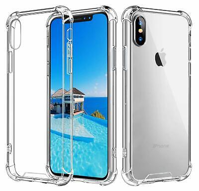 For iPhone 6 7 8 Plus XS MAX XR X SE Case Clear TPU Bumper Cover +Tempered Glass