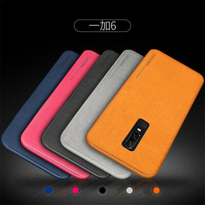 For OnePlus 6T 6 5 Car Holder PC+Silicone+Cloth Fabric Case Cover Back Shell