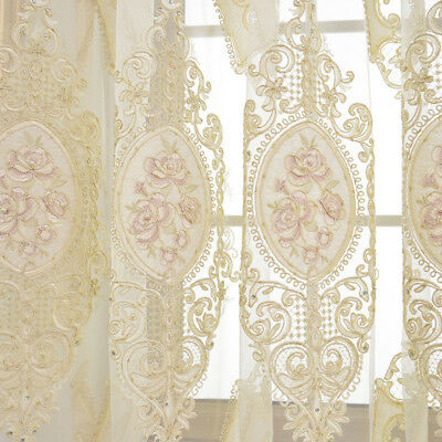 Beautiful Embroidery Sheer Shiny Tulle Window Drape Beige Curtain Living Room