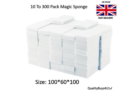 Magic Sponge eraser 50 To 500 Pack Melamine Foam Sponge Stain Dirt Remover UK✔✔