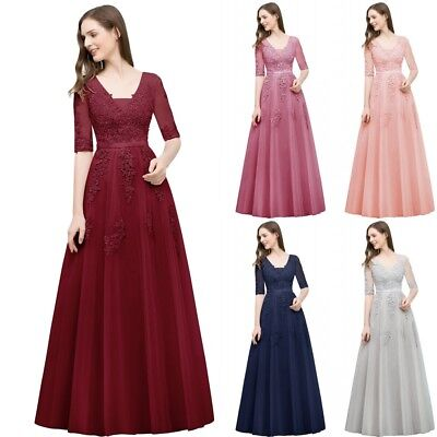 Tulle Long Evening Formal Party Dress Prom Ball Gown Bridesmaid Lace Applique