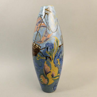 Cobridge Stoneware 'all At Sea' Design Trial Vase By Kerry Goodwin 2004