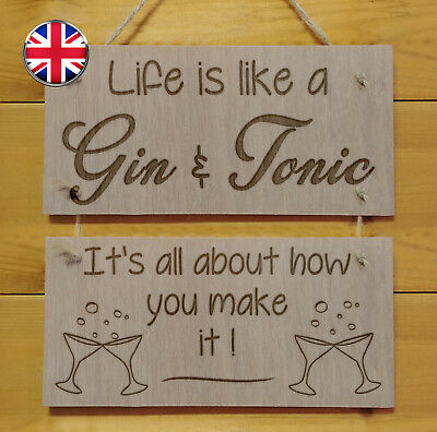 Life is like a GIN & TONIC.Engraved plaque.Sign Drink Gift Fun Alcohol Bar Home