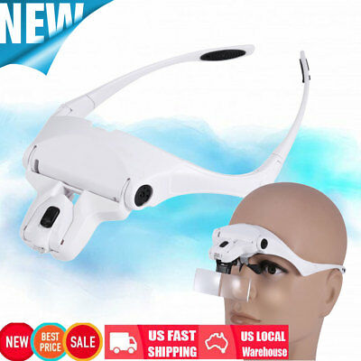 New 5 Lens Headset Magnifier With LED Lights Hand Free Magnifying Glass Eyelash