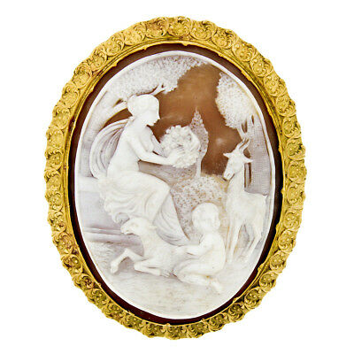 Vintage 14k Yellow Gold LARGE Carved Outdoor Scene Shell Cameo Brooch Pendant