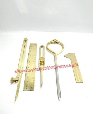 Lot of 5 Pcs Brass Drafting Tools Dividers & Caliper Scale W/ Wooden Box