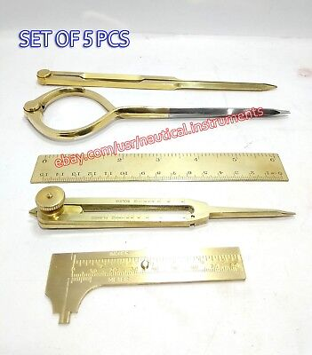 Lot of 5 Pcs Engineering Tools Brass Dividers & Caliper Scale With Wooden Box