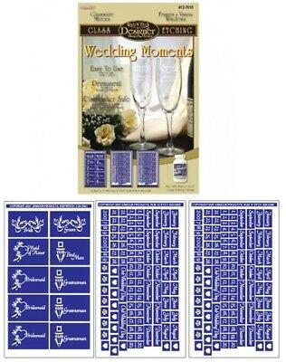 Set of 3 ~ Armour Rub n Etch Glass Etching Stencils ~ Wedding Moments