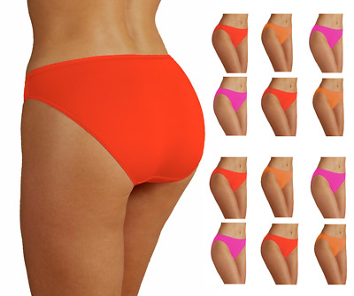 Womens Knickers High Rise Microfibre Underwear Neon Orange Pink Size 8 - 20