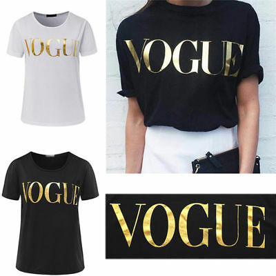 Womens Ladies Short Sleeve Vogue Slogan Gold Foil Printed Casual T Shirt Top UK