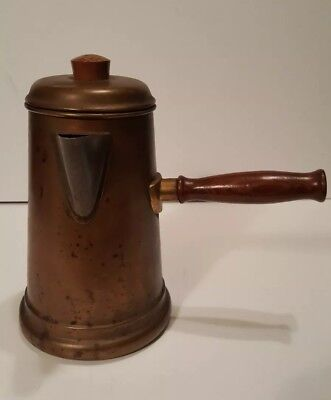 Vintage Solid Copper Chocolate Pot Spout Wood Handle Tin Lined Sturdy Construct