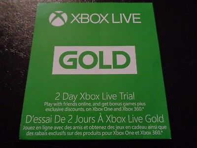 Xbox Live Gold Trial 2 Days 48 Hour Code Brand New Xbox One Xbox 360