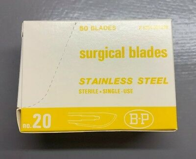 Box/50 No.20 Bard Parker Stainless Steel Sterile Surgical Blades