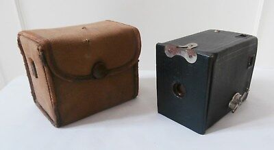 Antique 1920's Eastman Kodak Co. No.0 Model A Brownie Box Camera in Case US Made