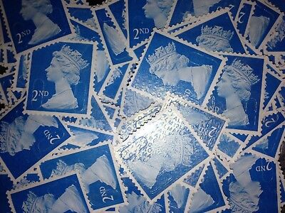 100 2nd CLASS BLUE SECURITY STAMPS  OFF PAPER UNFRANKED NO GUM