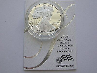 2008-W American Eagle Silver Proof with OGP and COA - 1 troy oz. of .999 Silver!