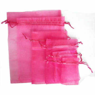 100 LUXURY Organza Gift Bags Jewellery Pouch XMAS Wedding Party Candy Favour UK