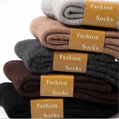 6 Solid Colors Wool Cashmere Comfort Thick Socks Mens Winter Outdoor Sport Socks