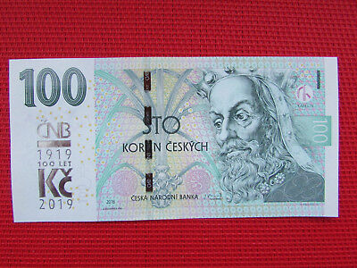 Brand new 100 crown banknote from the Czech Republic 2019