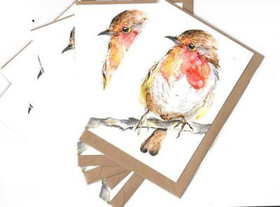 ROBIN CARDS WATERCOLOUR CONTEMPORARY Christmasb CARDS SIZE A6 BUNDLE OF 5 ROBIN
