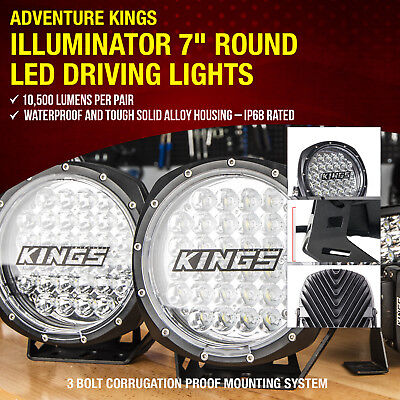 2x 7 Inch LED Driving Lights Round 4x4 Offroad Lamp Flood Spotlights Pair