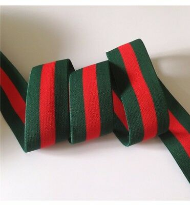 1m 38mm Striped Green Red and Green elastic stretch Gucci Inspired band Webbing.