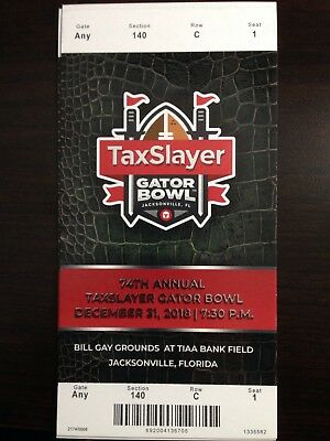 2018 Taxslayer Gator Bowl MINT Ticket 12/31/18 NCAA Football Stub Texas A&M NCST