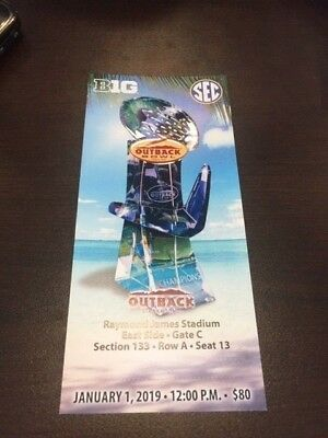 2019 Outback Bowl MINT Season Ticket 1/1/19 NCAA Football Stub Iowa MS ST